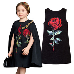 kids black floral dresses 2019 - PrettyBaby 2016 summer girls dresses black sleeveless shinny girls dress rose embroidered kids clothes free shipping dis