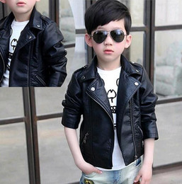 770c14972 children black leather jacket coat 2019 - New Boys Faux Leather Jackets  European and American Style