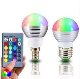 Wholesale LED 3W RGB globe bulb 16 Colors RGB bulb Aluminum 85-265V Wireless Remote Control E27 dimmable RGB Light color change led bulb