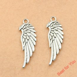 Wings For Making Jewelry Canada - 100pcs Antique Silver Plated Wings Angel Charms Beads Pendants for Jewelry Making DIY Handmade 34x12mm jewelry making