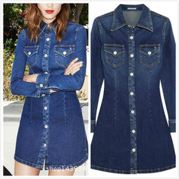 Robes De Broderies Célèbres Pas Cher-Slim Fit Denim Dress Floret Broderie embellie Pocket 2016 Ladies Famous Design Long Style Shirts Livraison gratuite