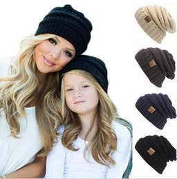Black Beanies for BaBies online shopping - kids winter keep warm cc beanie Labeling hats Wool knit skull designer hat outdoor sports caps for baby children kid