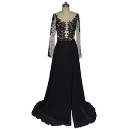 orange evening dresses for women UK - Vestidos Longos Para Casamento Pageant Dresses For Women African Evening Gowns Black Lace Chiffon Prom Dress