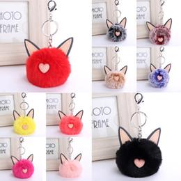 $enCountryForm.capitalKeyWord Canada - Cute Heart Shape Cat Ear Keychain Fur Ball Key Rings 16 Styles Multicolor Puffy Fur Cat Keys Chains Hairy Animal Key Holder D275Q