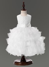Free Quinceanera Dresses Canada - High Grade Girls Bow Dresses Multi Puff Princess Dress Wedding dress Evening Dresses Party Dresses Free Shipping C00229