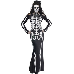 Barato Fantasia De Vestido Preto Longo Gótico-Sexy Women Black Cosplay Skull Performance Clothing New Long Party Dress Adulto Halloween Costume Ladies Club Wear Gothic Costume