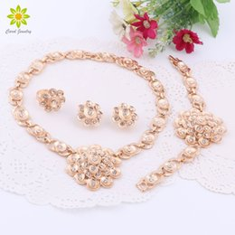 $enCountryForm.capitalKeyWord NZ - African Beads Jewelry Sets For Party Gold Plated Crystal Wedding Bridal Accessories Flower Necklace Earrings Bracelet Rings Set