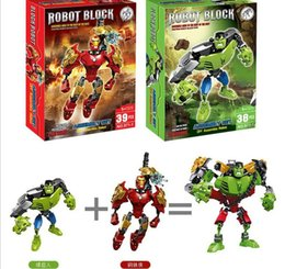 Wholesale Good DIY robot building block the Avengers super hero building blocks assembly Superhero Captain America Hulk Children educational toys