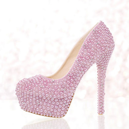high heels big platform NZ - 2019 Purple Pearl Wedding Pumps Silver Crystals Evening Party Shoes Round Toe Fashion Women Shoes Luxury Platform Party Shoes Big Size 12