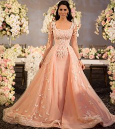 peach pink luxury 2016 weding dresses lace applique bridal gowns with square neck long sleeves lace up wedding gowns