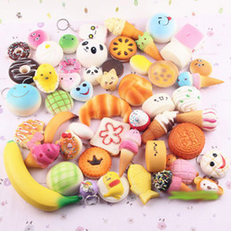 30pcs pack Squishies Slow Rising Squishy random sweetmeats ice cream cake bread Strawberry Bread Charm Phone Straps Soft Fruit Kids Toys 555