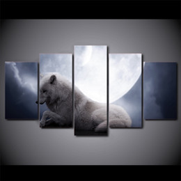 Lay Figure NZ - 5 Pcs Set Framed HD Printed White Wolf Lying Down Under Moon Night Wall Art For Kid Room Canvas Print Poster Canvas Pictures Painting