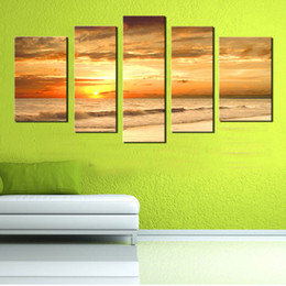 $enCountryForm.capitalKeyWord NZ - 5 Picture Combination Modern Yellow Color Sunset Seascape Paintings Natural Scenery Oil Painting Large Painting Canvas Home Wall Decoration