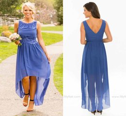 Discount high low western wedding dresses - Simple Modest Country Style Bridesmaid Dresses High Low V Back Lace Chiffon Western Junior Bridesmaid Dresses Wedding Gu