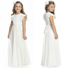 Barato Chiffon Vestido De Dama De Honra Ruffle Manga-Ivory Vestidos Classic Flower Girl A Linha Jewe Neck Ruffles Mangas Junior Vestido dama de honra Ruched Chiffon Sash Pavimento Length Long Formal Wear