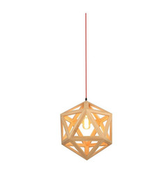 led lights for room Canada - RH Loft LED Pendant Light Wood Drop Light Hexahedron Shaped Hanging Lamp for Living Room Dining Room