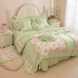 Queen Bedding Sets Green Color NZ - floral green color flower print bedding sets 4pcs set duvet cover bedsheet pillowcase king queen size girls home pink bedding free shipping