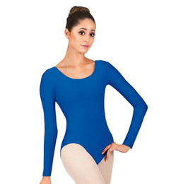 Vêtements De Gros En Gros Pas Cher-Gros-Plus Size Cheap Adult One Piece Scoop Neck Gymnastics Vêtements à manches longues justaucorps de: Vêtements Ballet de danse Ballet Leotard