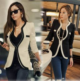 Long Cardigan Blazer Pas Cher-Hot Women Noir Blanche à manches longues Blazer Vestes Jacket Plus Size Business Office Work Leisure Wear