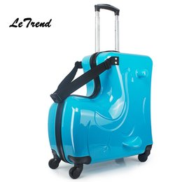 Wholesale- LeTrend Fashion Cute Kids Trolley Suitcases On Wheels Children Carry On Spinner Rolling Luggage Travel Bag Student School bag
