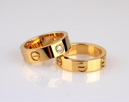 Gold zirconia rinGs online shopping - Love Ring with Box Birthday Gift Stainless Steel Jewelry mm Fashion Famous C Brand Gold Ring for Lover