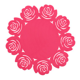 Red Coasters UK - round silicone coasters cute rose coasters Cup mat Home Drink Placemat Tableware Coaster Rose Red Free Shipping