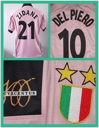 match worn jersey NZ - Serie A 97 98 JU centenary Match Worn Player Issue Shirt Jersey Short sleeves Zidane Del Piero jerseyCustom Patches Sponsor