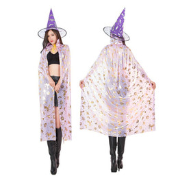 women party clothing 2018 - New Arrival Halloween Cosplay Cloak Party Witches Gothic Beauties With Hat Suit Woman Flroal Stars Pattern Performance M