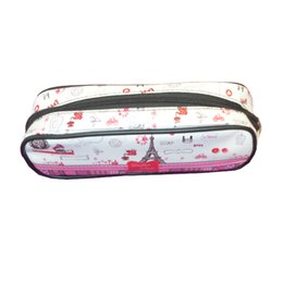 Bags Schools NZ - Pencil Case Bags Set of 4 Students Stationery School Supplies Bag Cylinder With lovely Printing Designs Zippered Opener On Top Mouth of Box