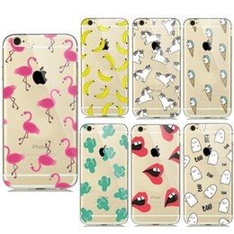 Discount banana phone cover - Wholesale-New Summer Fruit Banana Unicorn Transparent Silicone Soft TPU Clear Case for iPhone 5 5s 6 6s Cactus Lips Flam