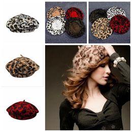 Discount angora hats - Fashion Ladies Rabbit Fur Angora Leopard Beret Hat Women Beanie Hat Cap Autumn and Winter Hats Female YYA459