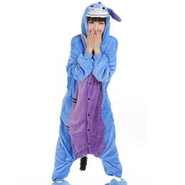 Flannel Hoodie UK - Donkey Unisex Flannel Hooded Pajamas Adults Cosplay Cartoon Cute Animal Onesies Sleepwear Hoodies For Women