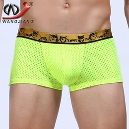 Nylon Spandex Boxers Baratos-Transpirable Mesh Boxer Hombres Spandex U Convex Panties Male Trunk Plus Size Alta Calidad Gay Marcas Slip Sexy Homme