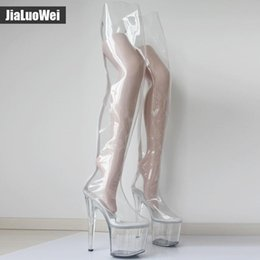 Wholesale Women cm Extreme High Heels CM Platform Clear PVC Over Knee High Boots Sexy Fetish Zip Fashion Show Transparent Crotch Boot