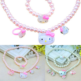 Girls plastic jewelry sets online shopping - PrettyBaby Candy Color girls simulated pearl necklace set ring earrings bracelet Cute Children hello kitty necklace jewelry set