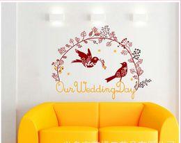 venda por atacado Fontes de casamento criativo casamento personalizado oi palavra adesivos estáticos adesivos de parede quarto casamento palavra bênção