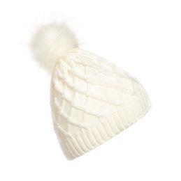 f8ea9efe57d Fashion Women Lady Faux Fur Ball Winter Warm Crochet Knitted Hat Pom Cap  Beanie