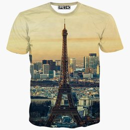 Tour Eiffel Paris T Pas Cher-tshirt Europe Mode t-shirt hommes / femmes 3d t-shirt été t-shirts impression City Paris Eiffel Towers manches courtes t-shirt
