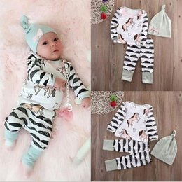 Baby Tshirt Outfit Boys Canada - Spring Autumn Ins Infant Baby Sets Kids Cartoon Horses Long Sleeve Tops Tshirt + Pants + Cap Girls Boys 3pcs Clothing Suit Children Outfits