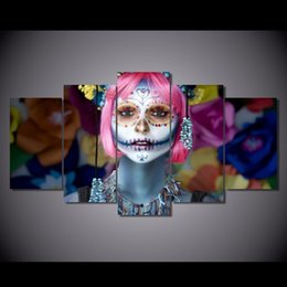 Painting Faces Canada - 5 Pcs Set Framed Printed Day of the Dead Face Painting Canvas Print room decor print poster picture canvas Free shipping ny-5716