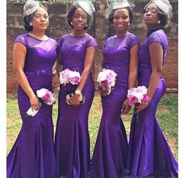 Discount African Dress Styles For Weddings African Purple Country Style  Cheap Bridesmaid Dresses For Wedding 2016