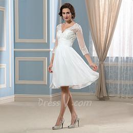 $enCountryForm.capitalKeyWord NZ - 2018 Graceful Short Lace Wedding Dresses Knee-length Chiffon Beach V-neck Sheer 3 4 Sleeves Lace Top Vintage Bridal Gowns free shipping