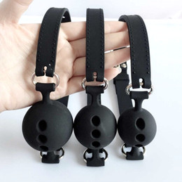 Discount ball gagged bondage sex - Full Silicone Open Mouth Gag Oral Fixation mouth stuffed Bondage Restraints Adult Games For Couples Flirting Sex Toys