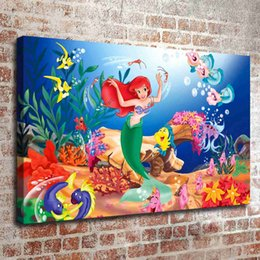 (No Frame) The Little Mermaid Three HD Canvas Print Wall Art Oil Painting  Pictures Home Decor Bedroom Living Room Kitchen Decoration Part 74