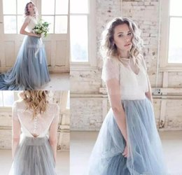 Discount bohemian wedding dresses short sleeves - 2018 Autumn Chic Country Wedding Dresses Dusty Tulle Court Train Ivory Lace Skirt Short Sleeve Cheap Sheer Bohemian Wedd