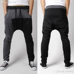 Pantalon D'entraînement Harem Pas Cher-Wholesale-Men Sports Gym Pantalons Casual Elastic cotton Men harem pantalons Fitness Workout Pantalons skinny Sweatpants Pantalons Jogger Outdoor