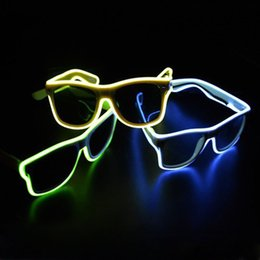 halloween rave 2018 - Blue el glasses El Wire Fashion Neon LED Light Up Shutter Shaped Glow Sun Glasses Rave Costume Party DJ Bright SunGlasse