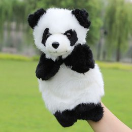 cute puppets Australia - Baby Plush Toys Cute Cartoon Panda Hand Puppet Baby Kids Doll Plush Toy Hand Puppets Children Learning & Education Toys