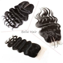 peruvian middle part closures 2019 - Top Lace Closure (4*4) Brazilian Peruvian Indian Maalysian Human Hair Closure Body Wave Natural Color Hair Extensions Ha