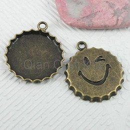 China 120pcs smiley face Vintage pop Bottle Tops caps antique bronze zinc alloy pendents DIY Jewelry Making 25mm lead free LM57 suppliers